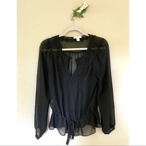 Sheer Black Ann Taylor LOFT Blouse